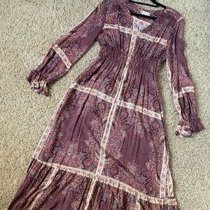Altar'd State Boho Long Sleeve Maxi Dress